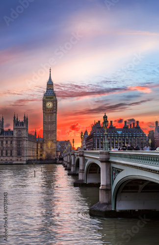 Sonnenuntergang über dem Big Ben in London Poster