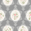 seamless floral pattern with lace and rose bouquet on grey background