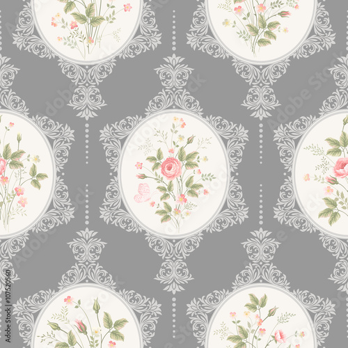 seamless floral pattern with lace and rose bouquet on grey background - 107520560