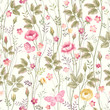 seamless floral pattern with roses and butterfly