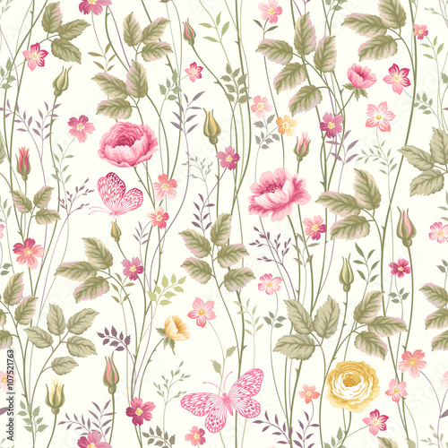 Fototapeta seamless floral pattern with roses and butterfly
