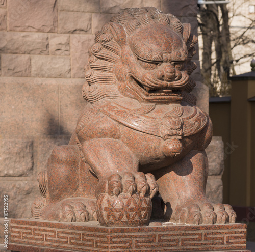 Buddhist Statue of Lion Poster