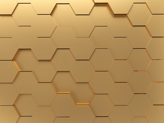 Gold Abstract Hexagon 3D-Render Background