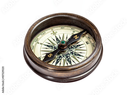 Plagát Old vintage compass isolated