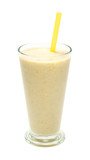 banana milk smoothies with straws on a white background