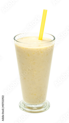 Poster Milkshake banana milk smoothies with straws on a white background
