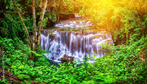 Huay Mae Kamin waterfall in Thailand waterfall is beautiful, do - 107536770