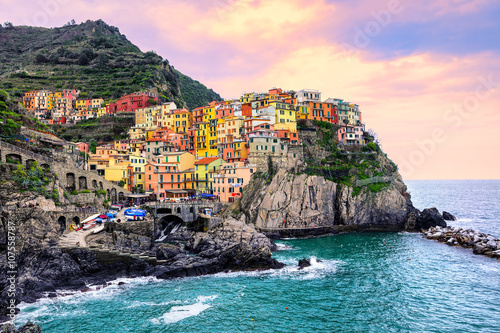Colorful houses on a rock in Manarola, Cinque Terre, Italy - 107558787