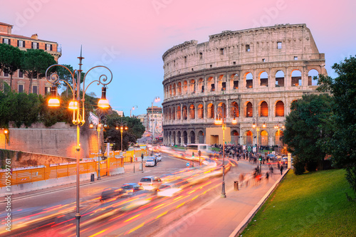 Staande foto Rome Colosseum, Rome, Italy, on sunset
