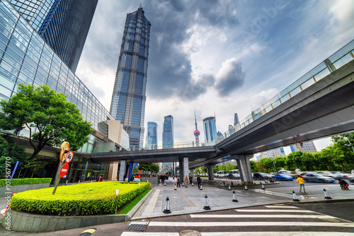 Modern view of Century Avenue with the Jin Mao Tower in Shanghai