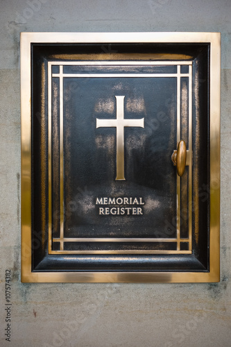 Poster Omaha Beach,Musee memorial in Normandy, France.- August 9: Ameri