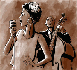 Jazz singer and double-bass © Isaxar