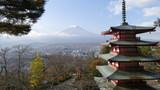 Beautiful of Mt. Fuji with fall colors in Japan