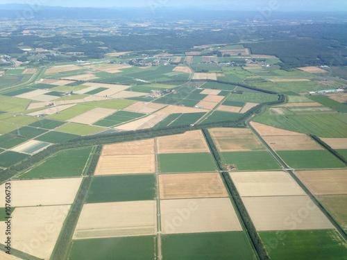 空からの田園風景