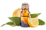 Essential oil made from lemon on a white background - 107610969