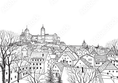 Old city skyline view European castle landscape. Pensil drawn cityscape - 107615567
