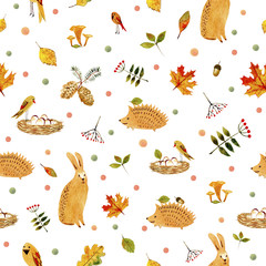 Rabbit,hedgehog,bird and floral.Seamless pattern.Watercolor hand drawn illustration.White background.