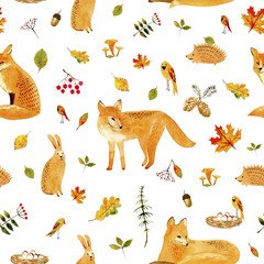 Fox,rabbit,hedgehog,bird and floral.Seamless pattern.Watercolor hand drawn illustration.White background.