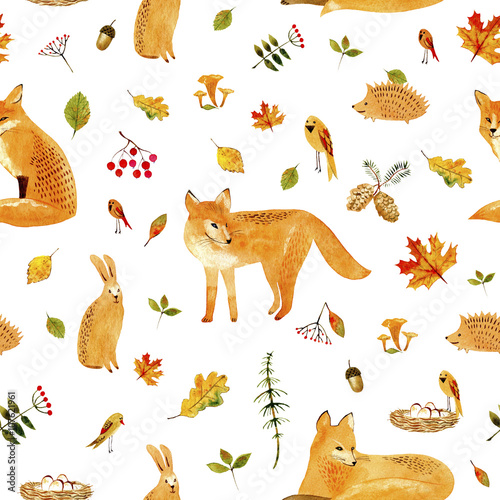 Cotton fabric Fox,rabbit,hedgehog,bird and floral.Seamless pattern.Watercolor hand drawn illustration.White background.