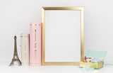 gold picture frame with decorations. Mock up for your photo or text Place your work, print art,shabby style, white background,, pastel color book, paris, lipstick, mint and gold accessories - 107628346