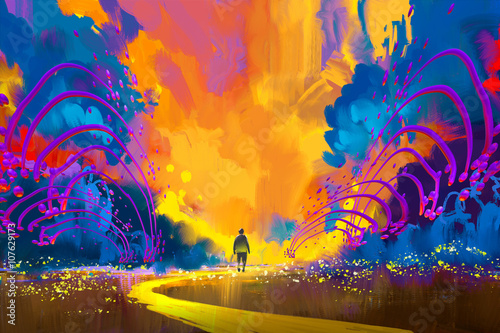 man walking to abstract colorful landscape,illustration painting плакат