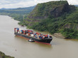 Cargo ship crossing Panama canal