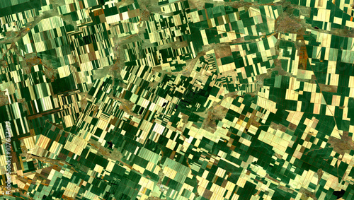 Fotobehang Nasa Fields from Landsat satellite. Elements of this image furnished by NASA.