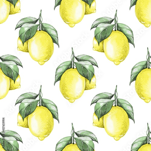 Lemons. Watercolor seamless pattern 1 - 107659914