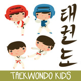 taekwondo kids set. asian martial arts. children fighting.