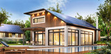 Fototapety Modern house with solar panels on the roof