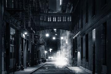 Moody monochrome view of Staple street skybridge by night, in Tribeca, New York City