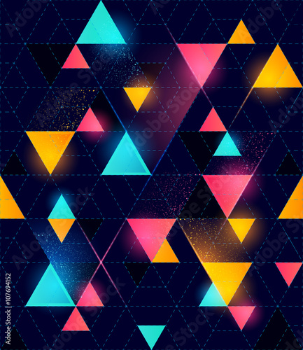 Seamless Neon Geometric Pattern - 107694152