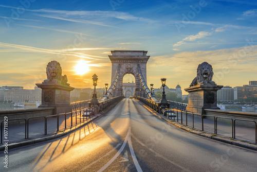 Póster Puente de cadena cuando la salida del sol, Budapest, Hungría