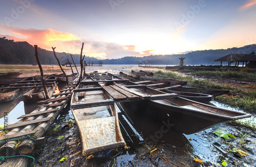Traditional boats at Lake Tamblingan in Bali, Indonesia Poster