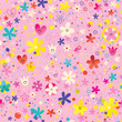 flowers and hearts nature love seamless pattern