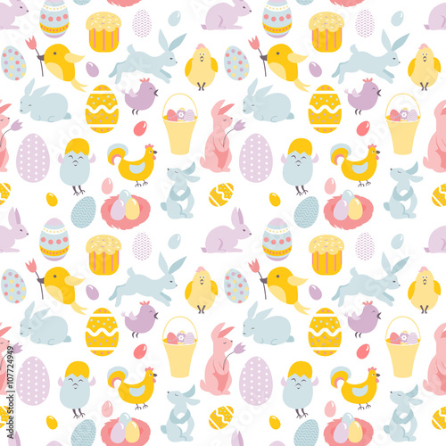 Cotton fabric drawing seamless Easter ornament