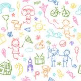 Malowane ręcznie w doodle styl bez szwu deseń.