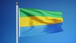 Постер, плакат: Gabon flag waving in slow motion against clean blue sky seamlessly looped close up isolated on alpha channel with black and white luminance matte perfect for film news digital composition