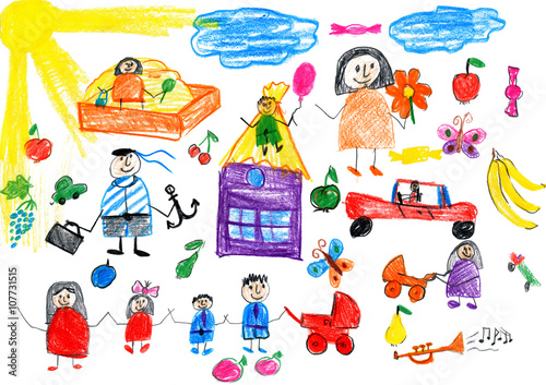 Fototapeta cartoon people happy lifestyle collection, child drawing object on paper, hand drawn art picture