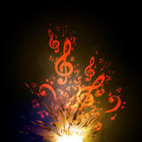Music vector explode background with note, easy all editable