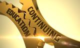 Golden Metallic Cogwheels with Continuing Education Concept. Continuing Education - Concept. Continuing Education on the Mechanism of Golden Metallic Gears with Glow Effect. 3D. - 107746193