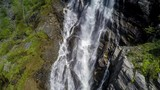 Aerial footage waterfall from the bird