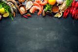 Fototapety Shellfish plate of crustacean seafood with shrimps, mussels, oysters as an ocean gourmet dinner background