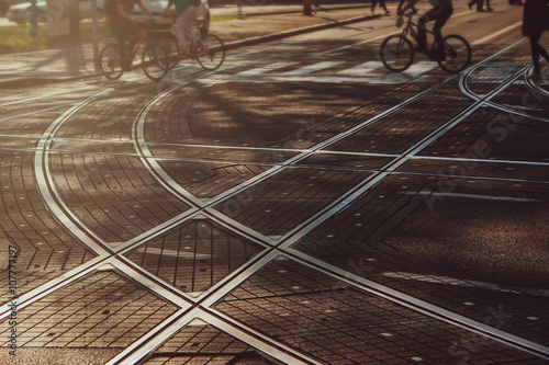 Tram lines intersection on the paved street in Zagreb, Croatia, intentionally bl Poster