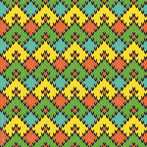 Staande foto Kunstmatig Multicolour Knitted Seamless Geometric Pattern
