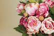 Pink Peonies bouquet  with copy space
