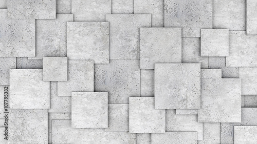 Fototapeta Concrete 3d cube wall as background or wallpaper. 3D rendering