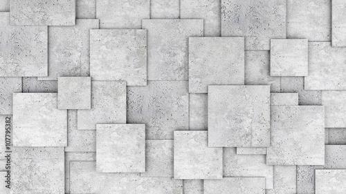 Zdjęcia na płótnie, fototapety na wymiar, obrazy na ścianę : Concrete 3d cube wall as background or wallpaper. 3D rendering