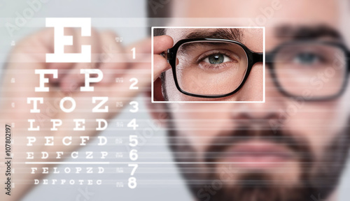 Male face and eye chart