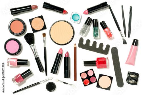 Plagát, Obraz A Set of Laid Flat Askewed Beauty Cosmetics